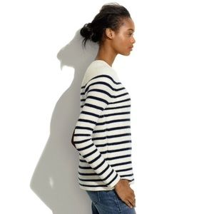 Madewell cream and white sweater with elbow pads
